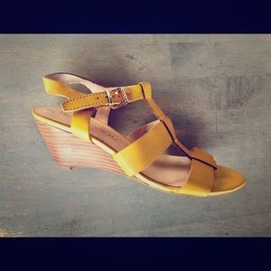 Franco Sarto Wyona Leather Mustard Wedge Sandals